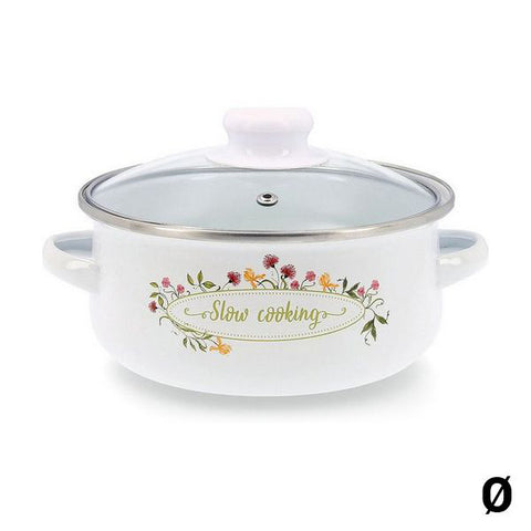 Casserole with glass lid Quid Memory Enamelled Steel