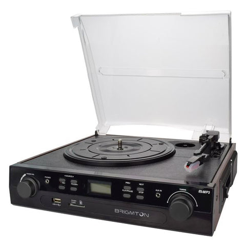 Record Player + Cassette Recorder BRIGMTON BTC-406REC USB SD/MMC Black
