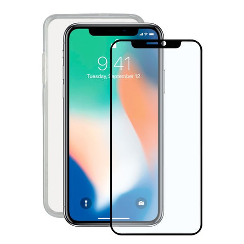 Tempered Glass Mobile Screen Protector + Mobile Case Iphone X Contact TPU