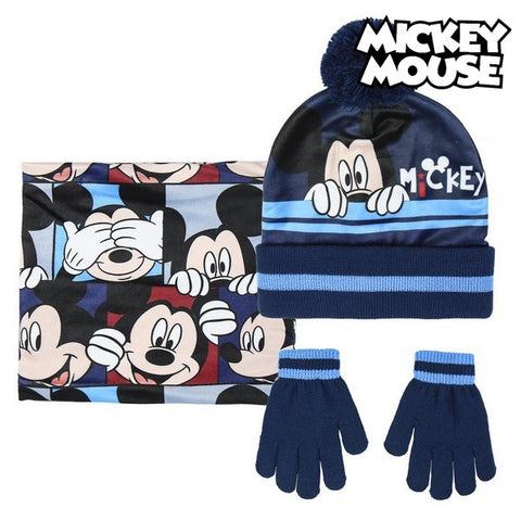 Bonnet, Gants et Echarpe Mickey Mouse 74325 Blue marine (3 Pcs)