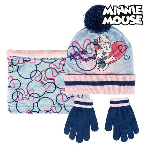 Hat, Gloves and Neck Warmer Minnie Mouse 74326 Grey (3 Pcs)