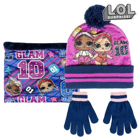 Hat, Gloves and Neck Warmer LOL Surprise! 74412 Fuchsia (3 Pcs)