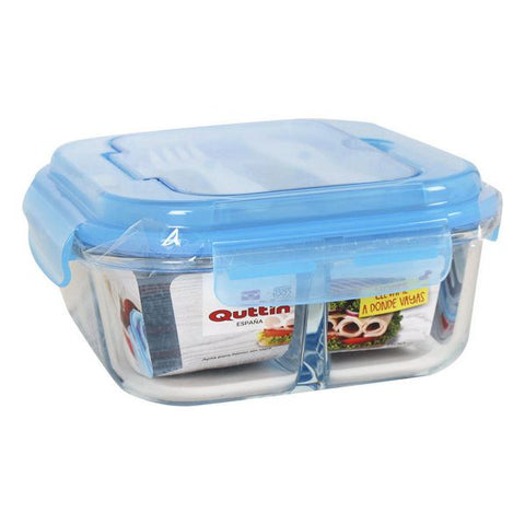 Lunchbox with Cutlery Comparment Quttin Glass (1100 Cc)