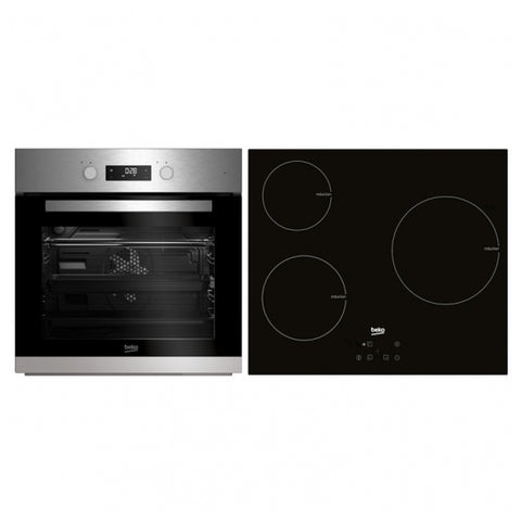 Combined Oven and Glass-Ceramic Hob BEKO BSE22341X 65 L Stainless steel Black (3 Cooking areas)