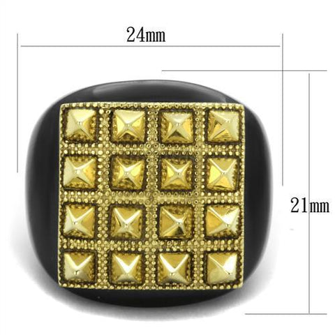 TK1842 IP Gold+ IP Black (Ion Plating) Stainless Steel Ring with No Stone in No Stone
