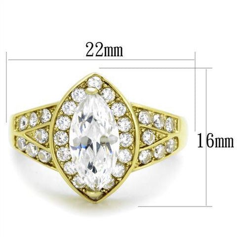 TK1896 IP Gold(Ion Plating) Stainless Steel Ring with AAA Grade CZ in Clear