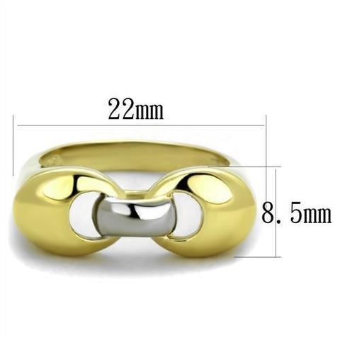 TK1915 Two-Tone IP Gold (Ion Plating) Stainless Steel Ring with No Stone in No Stone