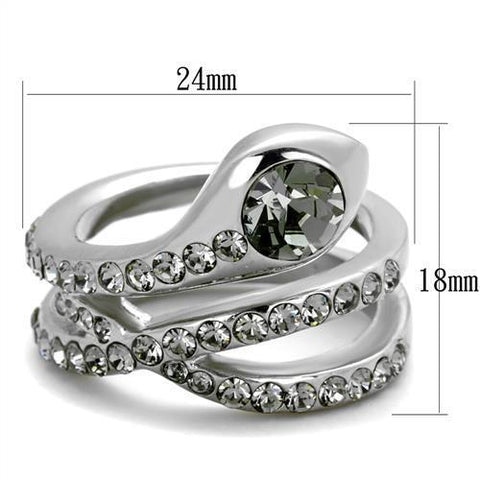 TK2038 High polished (no plating) Stainless Steel Ring with Top Grade Crystal in Black Diamond