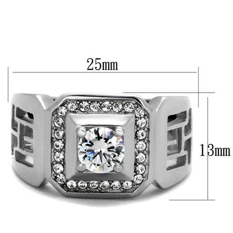 TK2046 High polished (no plating) Stainless Steel Ring with AAA Grade CZ in Clear