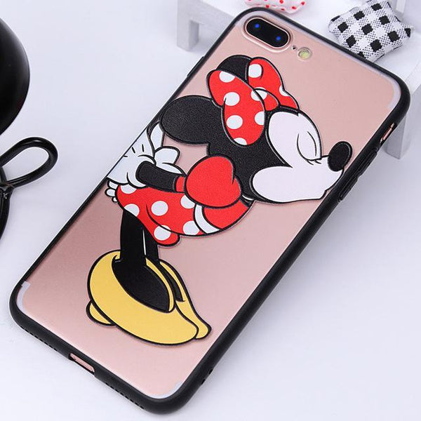Point d'achat coque phone mobile Minnie / For iphone 6 6s Coque Silicone Dessin Animé Mickey et Minnie Pour Iphone