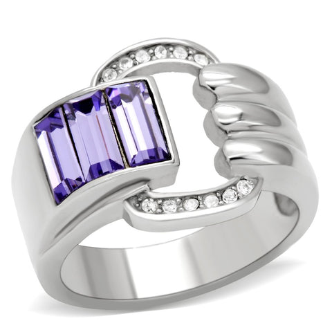 TK181 High polished (no plating) Stainless Steel Ring with Top Grade Crystal in Tanzanite