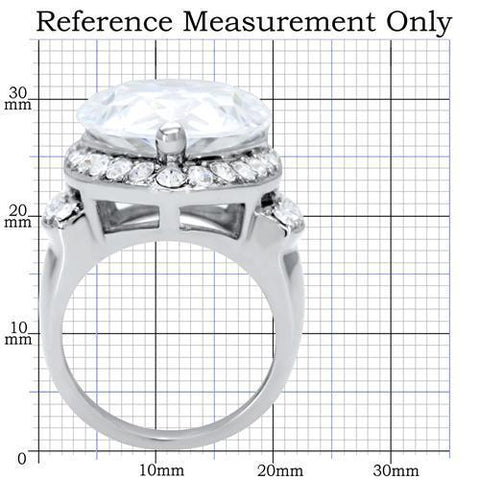 TK184 High polished (no plating) Stainless Steel Ring with AAA Grade CZ in Clear