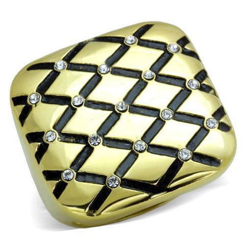 TK1886 IP Gold(Ion Plating) Stainless Steel Ring with Top Grade Crystal in Clear