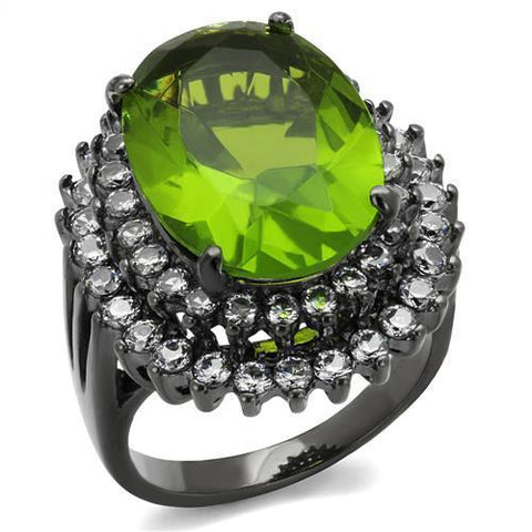 TK1892LJ IP Light Black  (IP Gun) Stainless Steel Ring with Synthetic in Peridot