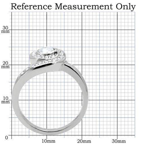 TK195 High polished (no plating) Stainless Steel Ring with AAA Grade CZ in Clear