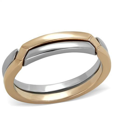 TK2031 Two-Tone IP Rose Gold Stainless Steel Ring with No Stone in No Stone
