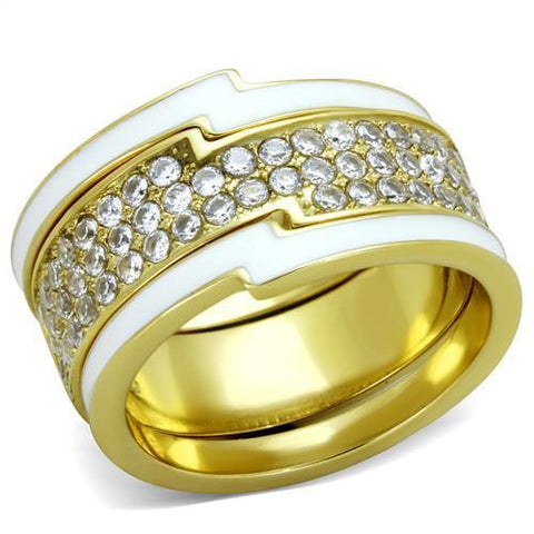 TK2035 IP Gold(Ion Plating) Stainless Steel Ring with AAA Grade CZ in Clear