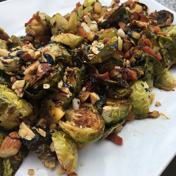 Roasted Brussels Sprouts with Nectarine and Nuts