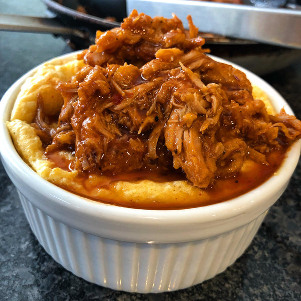 Cream Cheese Grits Souffle with Carnitas