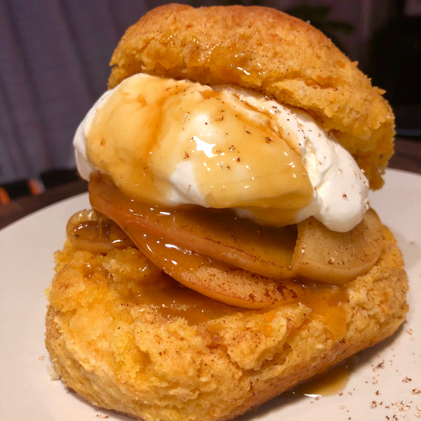 Sweet Potato Shortcake with Brandied Apples & Nutmeg Cream