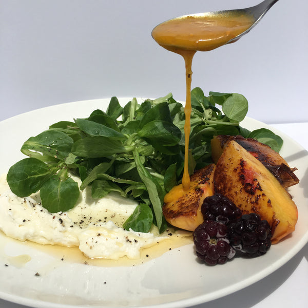 Skillet Seared Peach Salad with Honey & Pepper Goat Cheese