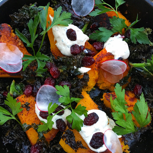 Skillet Butternut Squash and Crispy Kale