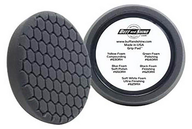 Buff and Shine Black Finishing Hex Faced Foam Grip Pad™ with Center Ring Backing  7.5 inch