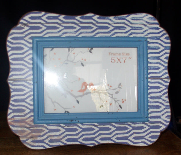 L0001 Shabby Chic Blue Wooden Picture Frame