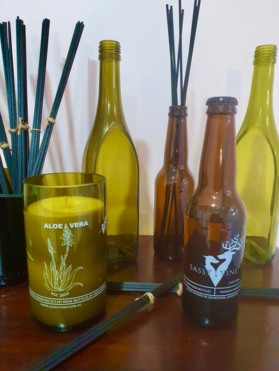 Aloe Vera Reclaimed Beer Bottle Diffuser &  Double Reed Set