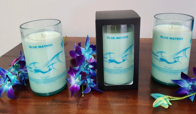 Blue Waters Reclaimed Wine Bottle Candles