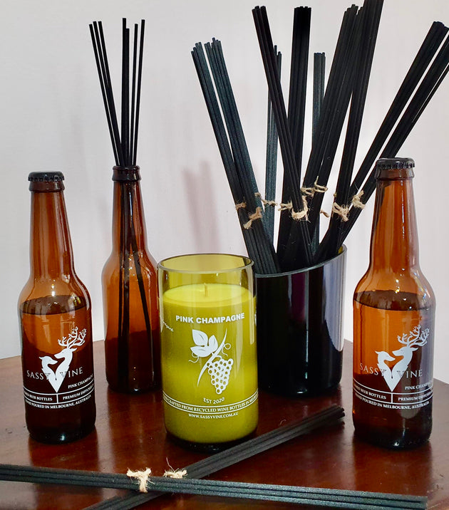 Pink Champagne Reclaimed Beer Bottle Diffusers & Double Reeds