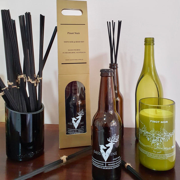 Pinot Noir Reclaimed Beer Bottle Diffuser & Double Reed Set