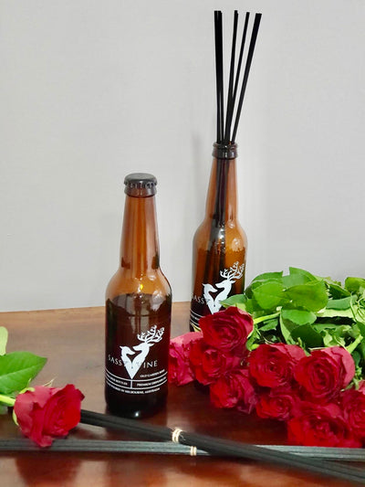 Old Garden Rose Reclaimed Beer Bottle Diffuser & Double Reed Set