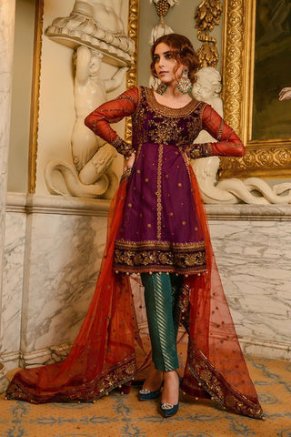 MARIA.B MBROIDERED Wedding Edition 2017 – Plum & Maroon (BD-1205)