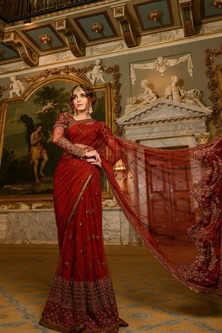 MARIA.B MBROIDERED Wedding Edition 2017 – Maroon (BD-1209)
