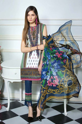 Gul Ahmed 3 Pc Embroidered Chiffon C-484