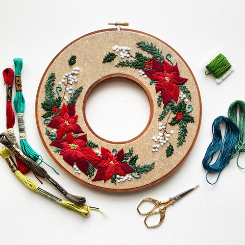 Limited Edition Holiday Wreath Embroidery Kit