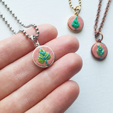 Hand Embroidered Jewelry Collection: Plants on Pink