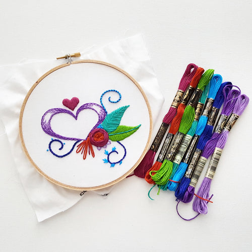Beginner's Embroidery Kit! Heart Sampler Pattern (PDF)
