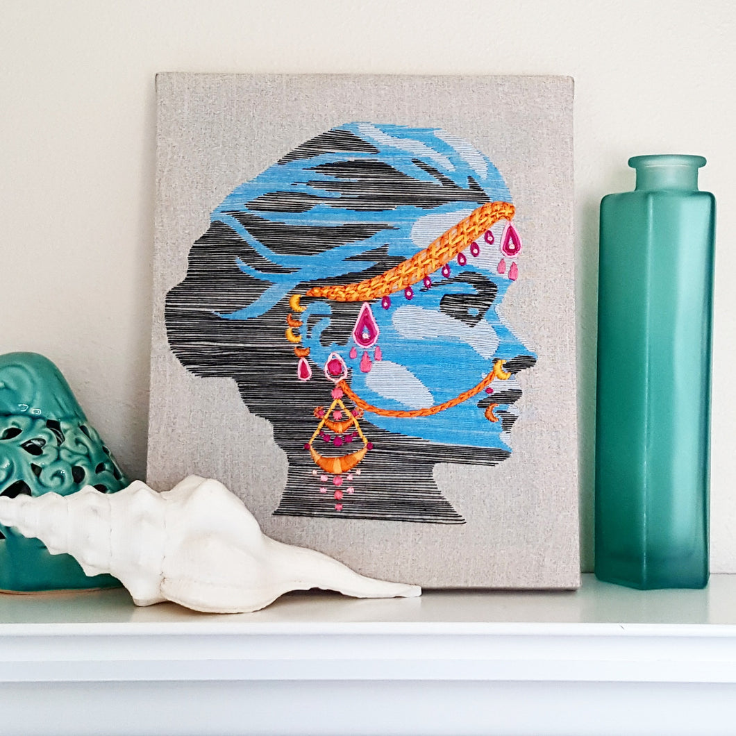Blue Jeweled Lady Thread Painting