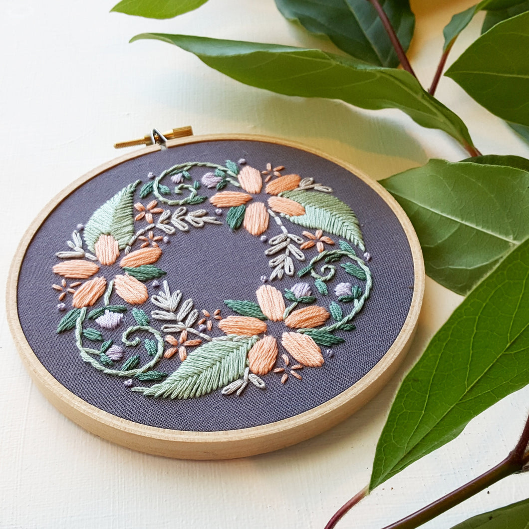 Floral Wreath Beginner Embroidery Pattern Pdf Namaste Embroidery