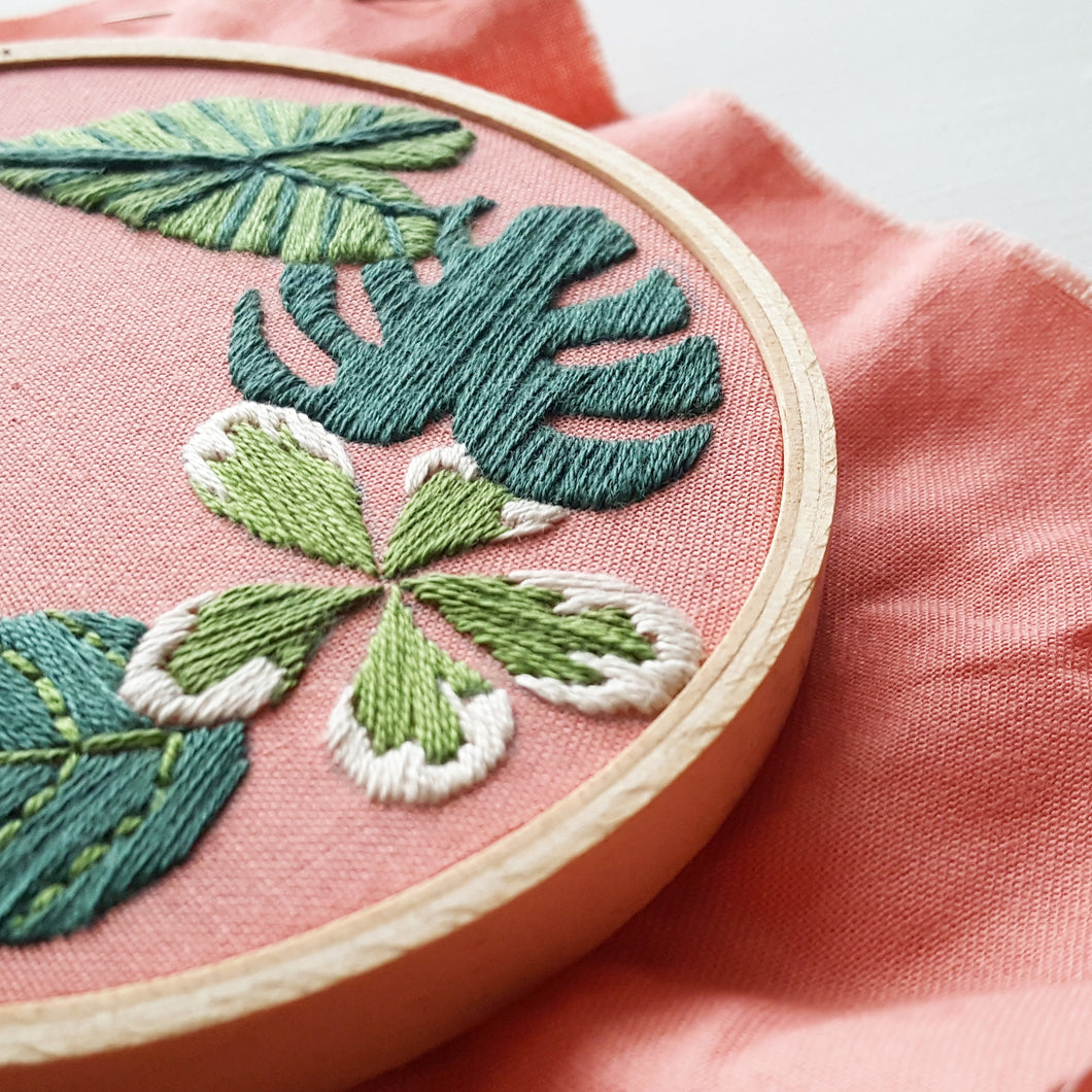 tropical plants hand embroidery pattern and kit  u2013 namaste