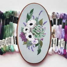 Anemones and Succulents Embroidery Kit Featuring Lecien Cosmo Floss