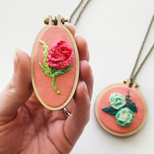Hand Embroidered 3D Rose Necklace