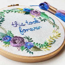 Satin Rose Wreath Embroidery Pattern (PDF)