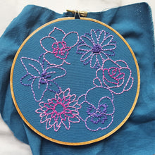 """Simple Flowers"" Original Hoop Art"