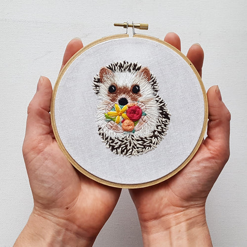 Hedgehog Embroidery Kit - Includes Video Tutorial