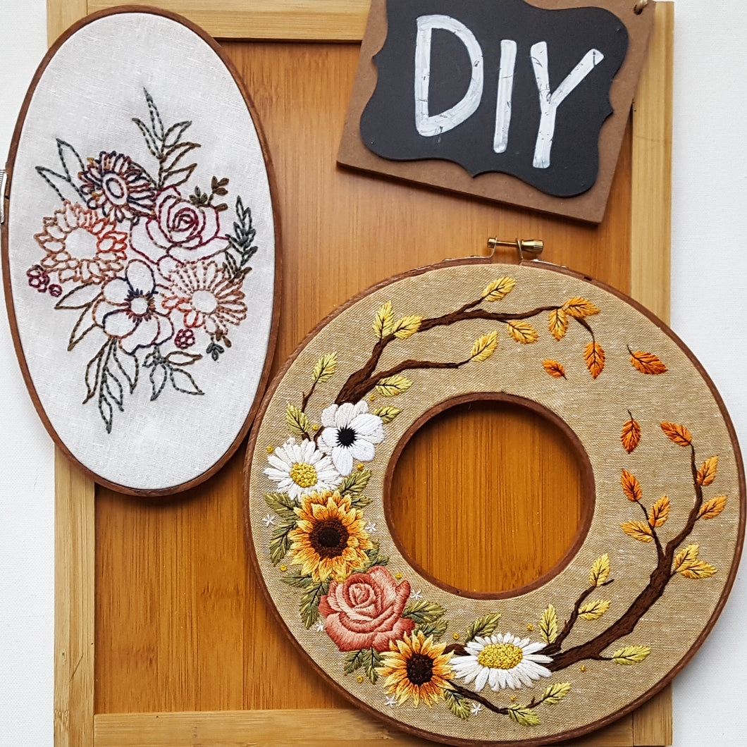 Autumn Wreath Hand Embroidery Pattern (PDF) - with Video Tutorial