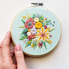 """Bright Floral Harvest"" Original Hoop Art"