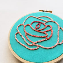 """Chain Stitched Rose"" Original Hoop Art"